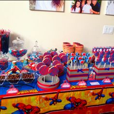 Spiderman dessert table