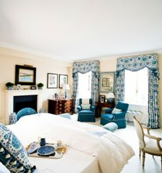Blue and cream bedroom - Sara Gilbane