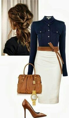 classy, I do not have navy and cream in my wardrobe and would love a nice pencil skirt