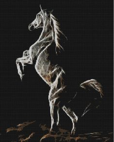 Counted Cross Stitch Pattern, Fractal Horse, 24 kleuren.  Instant PDF Download by dueamici on Etsy