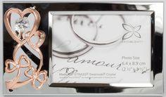 Bilderrahmen mit Herz rosegoldfarben MADE WITH SWAROVSKI ELEMENTS - premium-kristall