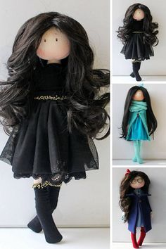 Muñecas Fabric doll Black doll Birthday doll Tilda doll
