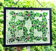 Christmas Stained Glass Mosaic Holly Berries by JBsGlassHouse