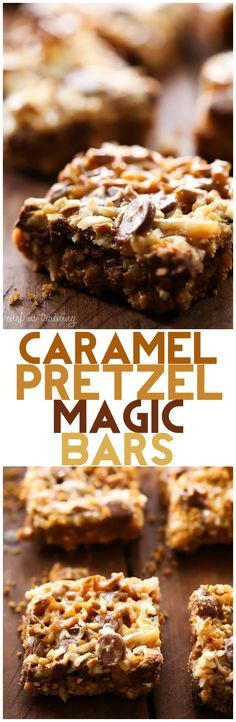 Caramel Pretzel Magic Bars... These are ooey, gooey, salty and sweet! The flavor and texture are amazing! The pretzel brings such a fun and exciting element to a classic recipe and the caramel addition is perfection!