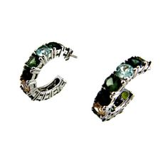 Sterling Silver Hoop Earrings Multi Color CZ Stones Signed