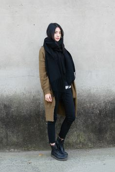 sweater coat, scarf, boots