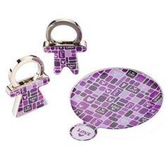 lila Planquadrat Taschenspiegel mit Schlüsselanhänger