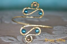 Armband, Upper Arm Cuff, Armlet - Brass with Gold and Teal Pearls or CUSTOM CREATED