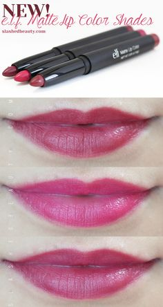 The three new shades from the e. Studio Matte Lip Colors line are perfect for fall! Cranberry, Fuchsia, and Wine are all gorgeous, strong colors. Beauty Dupes, Beauty Makeup, Beauty Hacks, Drugstore Beauty, Drugstore Foundation, Elf Products, Best Makeup Products, Beauty Products, Matte Lip Color
