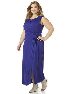 AnyWear Isle Of Hope Maxi | Catherines Plus Sizes: Discover perfectly versatile pieces from our AnyWear Collection that mix, match and pack beautifully, wherever life takes you. This wrap-style maxi features strategically placed draping and shirring that flatters your silhouette. At the neckline, a keyhole detail adds an alluring touch. Finished with a slit at the hemline. Scoop neckline. Sleeveless.