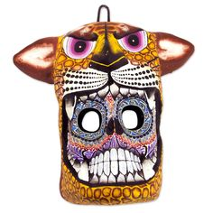 Saul Montesinos Unique Day of The Dead Ceramic Cat Mask Wal Decor