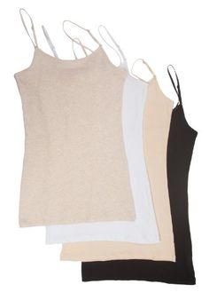 3cb24afa1 Zenana Womens Basic Tank Top Pack of 4 Medium Black Heather Beige Taupe  White >>> ** AMAZON BEST BUY **