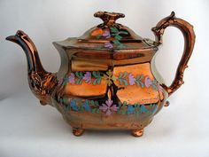 Antique English Teapot Copper Luster Lustre & Enameled Flowers