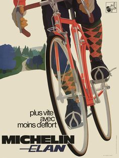 """'70s Michelin Advertisement: """"Faster with less effort.""""    What a classy image (and a stunningy impossible, yet stylish front rack)."""