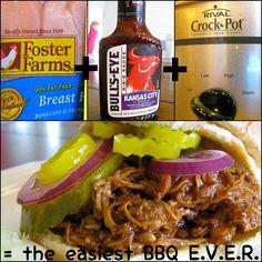 Unbelievably easy crockpot chicken BBQ sandwiches