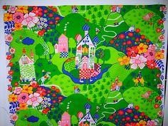 Prinsessan och grodan Almedahls, Anna-Lena Emden Scandinavian Pattern, Anna, Vintage Fabrics, Textile Design, Retro Print, Kids Rugs, Textiles, Patterns, Children