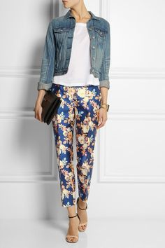 J.CREW Collection printed shantung straight-leg pants T BY ALEXANDER WANG Jersey T-shirt ALEXANDER MCQUEEN Two-tone leather sandals RAG & BONE The Jean denim jacket MARNI Leather clutch MONICA VINADER Riva gold-plated diamond necklace