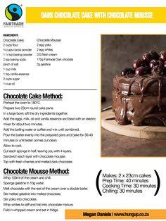 Dark Chocolate Cake with Chocolate Mousse Dark Chocolate Cakes, Fresh Cream, Vanilla Essence, Gelatine, International Recipes, Recipe Using, Fair Trade, Baking Soda, Mousse