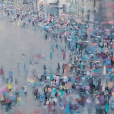 Oona Hassim Oxford Street, Saturday oil on canvas 41 x 41 cm