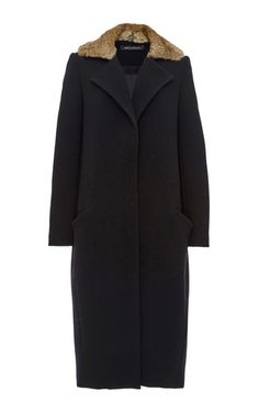 Double Face Wool Crepe Cocoon Coat With Rabbit Collar by SALLY LAPOINTE for Preorder on Moda Operandi