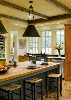 country kitchen with no upper cabinets