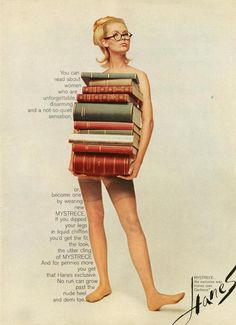 Vintage poster: hosiery that is LIQUID CHIFFON for the 'bookish woman'