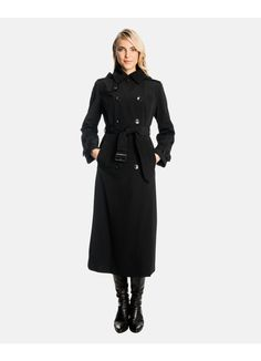 Rachel Double Breasted Long Trench Coat with Detachable Hood