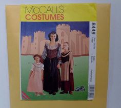 Great costume pattern from McCalls 8449  for Renaissance ladies gown, snood, shawl and overbodice!