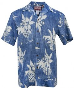 Pineapples & Ukes Mens Reversered Aloha Shirt in Blue