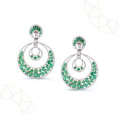 Emerald and diamond Chaandbali The Green Crescent: reminiscent of the most iconic shape in the night sky. Handmade using the finest Columbian Emeralds and Diamonds. Price on request Contact: +91-9928366641 Email: saloni@tresorjewels.in
