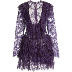 Elie Saab Layered Lace Mini Dress ($6,025) ❤ liked on Polyvore featuring dresses, elie saab, short purple dresses, lace dress, mini dress, purple cocktail dress and see through dress
