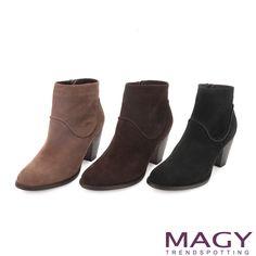 $2780-MAGY 紐約時尚步調 造型弧線拼接牛麂皮粗跟短靴-咖啡 - Yahoo!奇摩購物中心(咖缺45-可缺45/50)