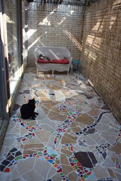 The bricked-in area outside of our master bath will be a great place to design a patio for our cats.otherwise known as a catio. We started with a brainstormi… Diy Garden Decor, Garden Art, Garden Globes, Patio Makeover, Mosaic Patterns, Paint Cans, Mosaic Art, Mosaics, Curb Appeal