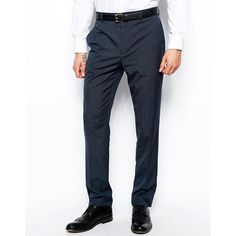 ASOS Slim Fit Suit Pants In Blue (€21) ❤ liked on Polyvore featuring men's fashion, men's clothing, men's pants, men's dress pants, blue, mens slim fit pants, tall mens dress pants, mens blue pants, mens slim fit dress pants and tall mens pants