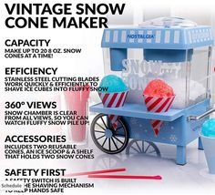 Nostalgia Vintage Countertop Snow Cone Maker Makes 20 Icy Treats, Includes 2 Reusable Plastic Cups & Ice Scoop – Blue Appetizer Display, Reusable Plastic Cups, Snow Cone Syrup, Hawaiian Shaved Ice, Snow Cone Machine, Cake Pop Maker, Sno Cones, Sugar Free Candy, Baking With Kids