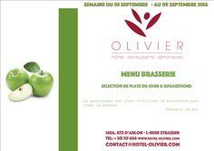 Plats du jour - Menu Brasserie Semaine du 05/09 au 09/09 contact@hotel-olivier.com Tél: + 352 313 666 View menu click http://hotel-olivier.com/wp/plats-du-jour-suggestions-menu-brasserie/