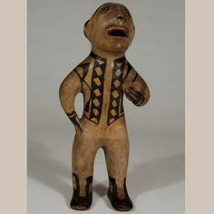"#adobegallery - Cochiti Pueblo Nineteenth-Century Male Figurine. Potter Unknown      Category: Figurines     Origin: Cochiti Pueblo     Medium: clay, pigment     Size: 9-1/2"" height     Item # C3683F"
