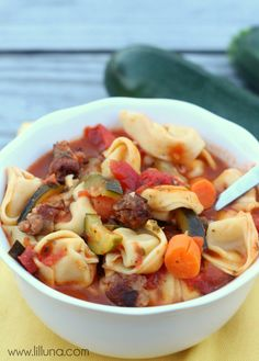 Delicious Tortellini Sausage Soup Recipe on { lilluna.com } #soup