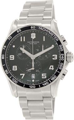 Montre Victorinox 241650 - Homme - Quartz - Chronographe - Verre Saphir - Cadran et Bracelet en Acier inoxydable Argent et Noir - Date - Swiss Army