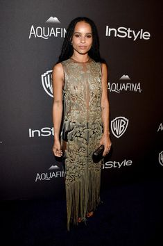 Zoe Kravitz Sequin Dress - Zoe Kravitz dared to (almost) bare in a sheer sequin gown by Alexander McQueen for the InStyle and Warner Bros. Golden Globes post-party.