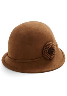 Train and Simple Hat. Youre the picture of vintage glamour as you board the train with this brown cloche hat atop your head! #brown #modcloth