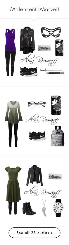 """""""Maleficent (Marvel)"""" by the-author-333 ❤ liked on Polyvore featuring Alexander McQueen, River Island, Bozzolo, NIKE, Gucci, JanSport, Free People, Uniqlo, Yves Saint Laurent and LE3NO"""