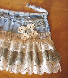 Repurposed denim jeans into shabby, darling apron