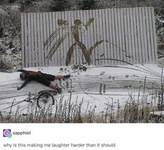 Woah😂. Snow biking fails. Funny pic