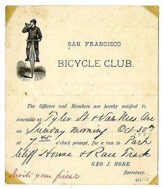 Notice, San Francisco Bicycle Club run to the Cliff House (1881) courtesy, California Historical Society, CHS2014.1635.jpg