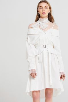 Heiz Cold Shoulder Belted Dress Discover the latest fashion trends online at storets.com