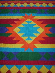 handmade quilts made in usa Southwestern Quilts, Southwestern Style, Seminole Patchwork, Indian Quilt, Indian Rugs, Native American Patterns, Quilt Modernen, Star Quilts, Quilt Blocks