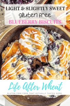Perfect for breakfast or brunch, these beautiful gluten free blueberry biscuits are perfectly light and fluffy, slightly sweet, and studded with blueberries. Dairy free option included. Gluten Free Recipes For Breakfast, Best Gluten Free Recipes, Gluten Free Treats, Gluten Free Breakfasts, Gf Recipes, Gluten Free Desserts, Paleo Breakfast, Dessert Recipes, Dessert Sans Gluten