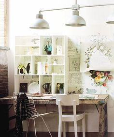 Pretty, rustic desk. My underused sewing machine would look so nice on it.