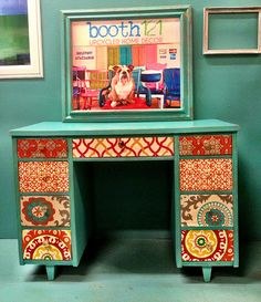 Fabric covered drawers: upcycled desk by booth 121